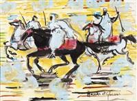 trois cavaliers sur fond jaune by hassan el glaoui