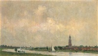 overlooking the nederrijn, rhenen in the distance by anton smeerdijk