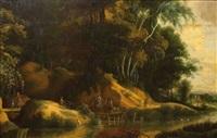 cavalier demandant son chemin sur les bords d'une rivière by lodewijk de vadder