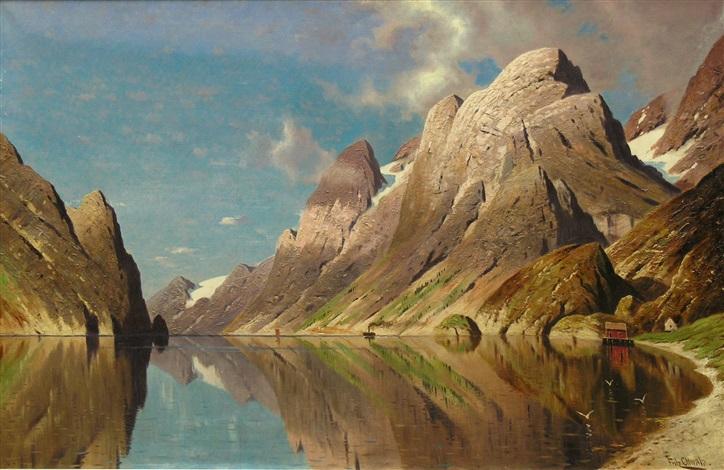 sommertag an einem norwegischen fjord by fritz chwala