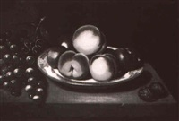 fruit and white plate on a ledge by john cornish