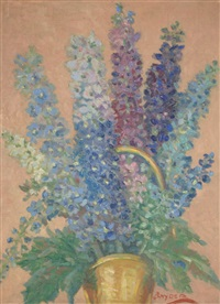 still life with basket of delphinium or hollyhocks in wood frame by amanda tester snyder