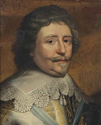 portrait of frederik hendrik (1584-1647), prince of oranje, bust-length, in armour with a white lace collar by gerrit van honthorst