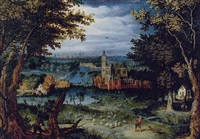 a wooded river landscape with a manor house by a village, a city beyond by balthasar lauwers