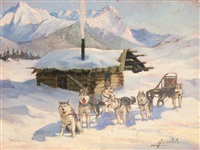 sled dog team and cabin in winter by harvey goodale