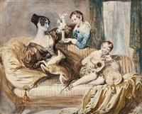 portrait of mrs julia hardwick, née shaw, with her two sons and a whippet by daniel maclise