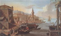 a capriccio of a mediterranean harbour scene with numerous figures on a quayside and a lighthouse beyond by huig van dorre-wiltschut
