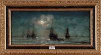 le retour des pêcheurs au crépuscule by charles louis langenbick