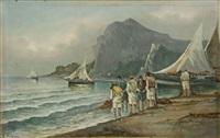 spiaggia con pescatori by raimondo scoppa