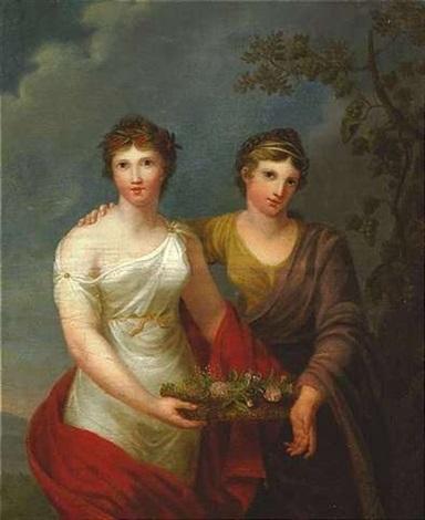 personifikation der freundschaft und dankbarkeit zwei stehende weibliche figuren einen korb mit blumen haltend by andries cornelis lens