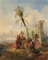 beduinenfamilie an der nordafrikanischen küste by niels simonsen