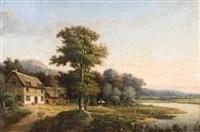 paysage animé à la chaumière et à la barque by prosper lepinoy