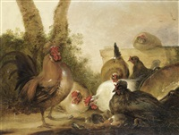 a farmyard scene with chickens by gysbert gillisz de hondecoeter