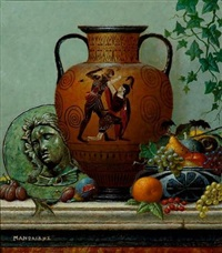 still life with greek vase and fruits by theodoros manolidis