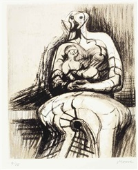 seated mother and child by henry moore