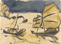 dschunken vor hong kong (chinese junk boats in hong kong) by emil nolde