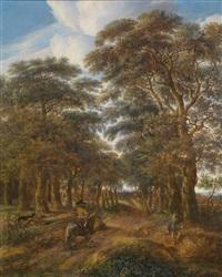 eine waldlandschaft mit reiter und einem angler an einem teich by pieter jansz van asch