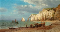 view of the cliffs at étretat in normandy by richard fresenius