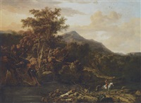 an italianate mountain landscape with a sportsman and his attendant by a river by adriaen de hennin