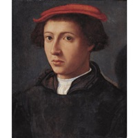 portrait of a young man, bust length, turned slightly to the left, wearing a red cap by dirck jacobsz