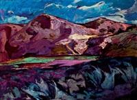paisaje de montañas en malvas by jose sanchez carralero
