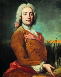 portrait de gentilhomme sur fond de paysage by marc nattier the elder