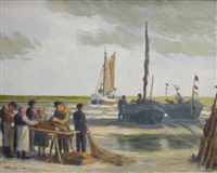 fishermen and women at the baltic sea by fritz modrow