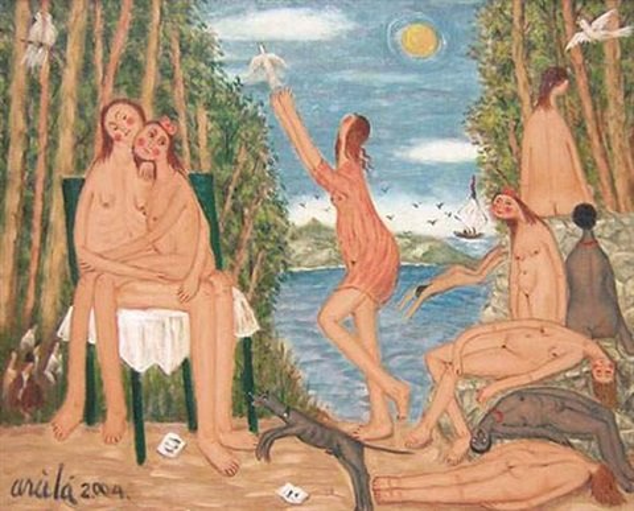 baigneuses au lac by oscar arcila