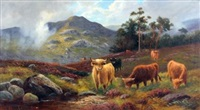cattle in highland landscape by william langley
