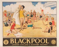 blackpool london, midland & scottish railway by lewis baumer