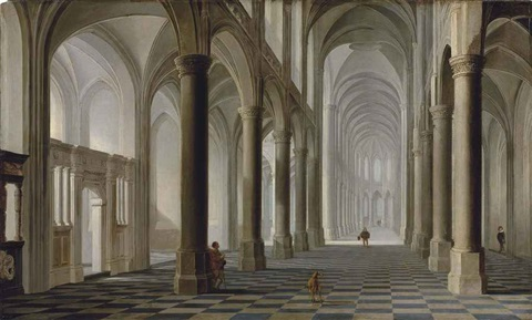 the interior of a gothic church with elegant figures a hound in the foreground by dirck van delen