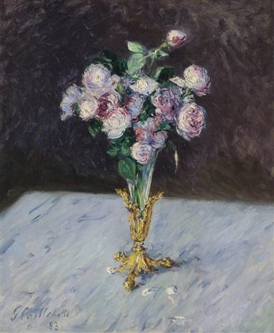 Bouquet de roses dans un vase de cristal by gustave for Un bouquet de roses