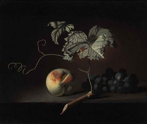 a peach and grapes on a ledge by simon pietersz verelst