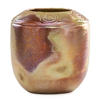 vessel incised with zodiac signs by pewabic pottery