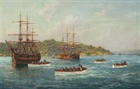 australia's first boat race, sydney harbour, 1818 by john allcott