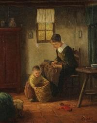 intérieur paysan hollandais animé d'une mère et enfant faisant des travaux domestiques by jacob simon hendrik kever