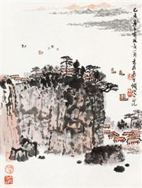 江帆一角 立轴 设色纸本 by qian songyan