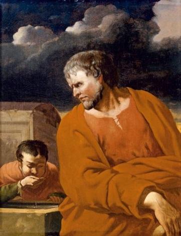philosophe observant un garçon buvant dans sa main. (diogène ?) by karel dujardin