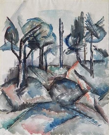 landscape with trees by norman lewis