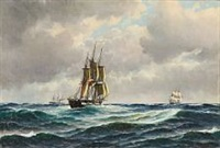 seascape with danish sailing ships by carl ludwig bille