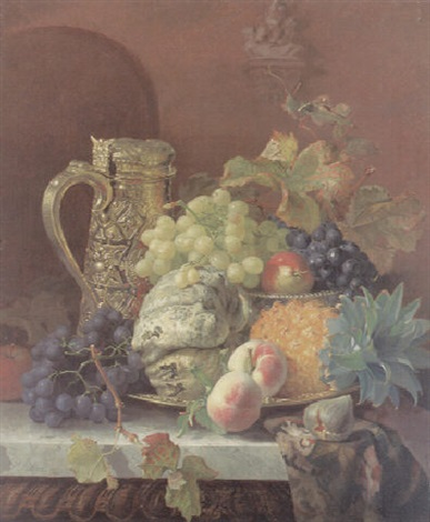 fruit on a tray with a silver gilt flagon on a marble ledge by eloise harriet stannard
