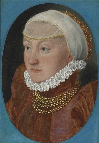 portrait of a lady bust length in a red dress and headdress by hans holbein the younger