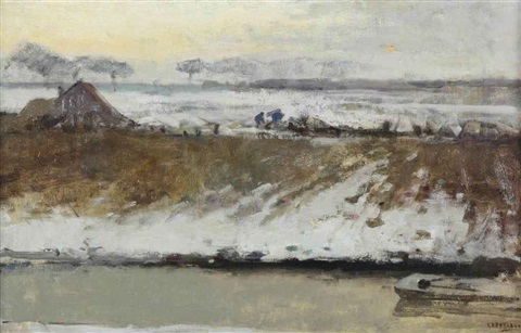 a farmyard in the snow at sunset by george hendrik breitner