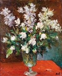 bouquet de fleurs blanches avec lilas et roses by marcel dyf