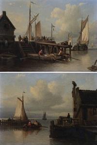 vue de port animé de figures près d'une estacade en bois (pair) by antonie waldorp