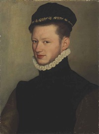 portrait of a young man, bust-length by bernardino campi
