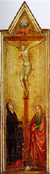 the crucifixion, with the madonna and saint john the evangelist by bernardo daddi