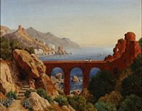 italian coastal landscape with a viaduct by ernst meyer