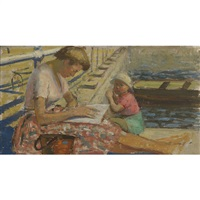mother and child sunning at a pier by geoffrey squire