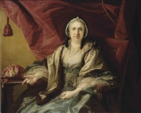 portrait of mrs brett, three-quarter-length, in a blue dress, spotted voile wrap and lace cap, seated in a red chair by a table, with her sewing bag, a red draped curtain beyond by francis cotes